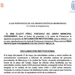 Ciudadanos (Cs) Majadahonda propone que la Corporación Municipal se una para defender la integridad territorial de España ante la crisis en Ceuta y Melilla